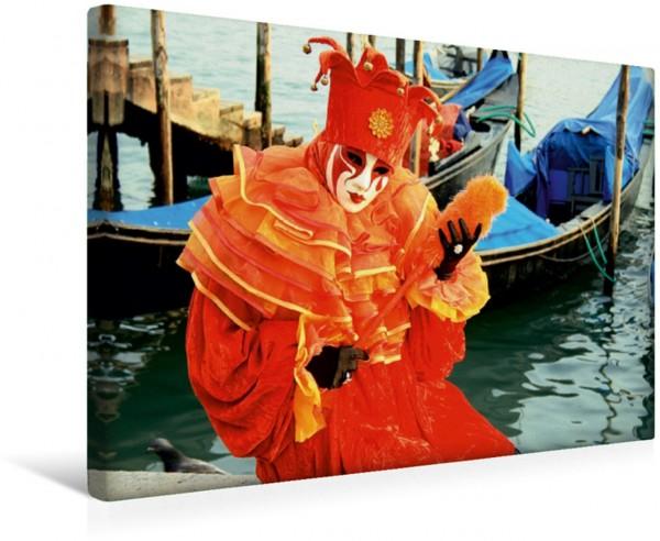 Wandbild Figur vor den Gondeln Karneval Venedig Karneval Venedig
