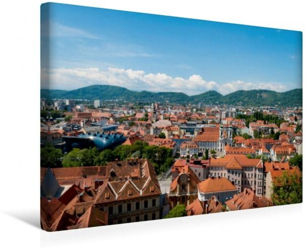 Wandbild Blick auf Graz und das Kunsthaus