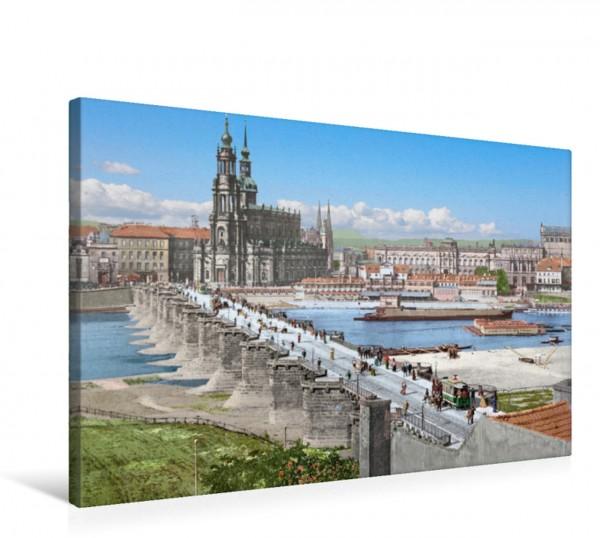 Wandbild Dresden - Augustusbrücke und Altstadt 1898