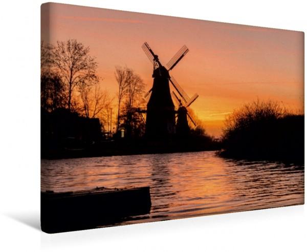 Wandbild Greetsieler Zwillingsmühlen Sonnenaufgang Sonnenaufgang