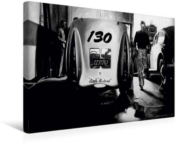 Wandbild James Dean mit seinem Porsche in der Werkstatt. Im Hintergrund Wolf Wütherich