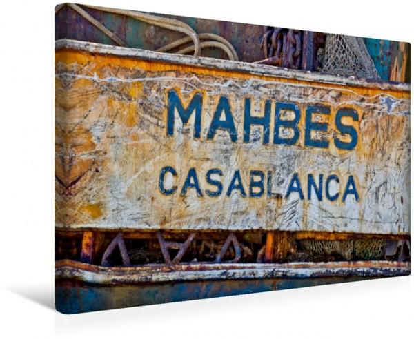 Wandbild Schild eines verrosteten Kahnes im Hafen von Agadir. Casablanca Casablanca