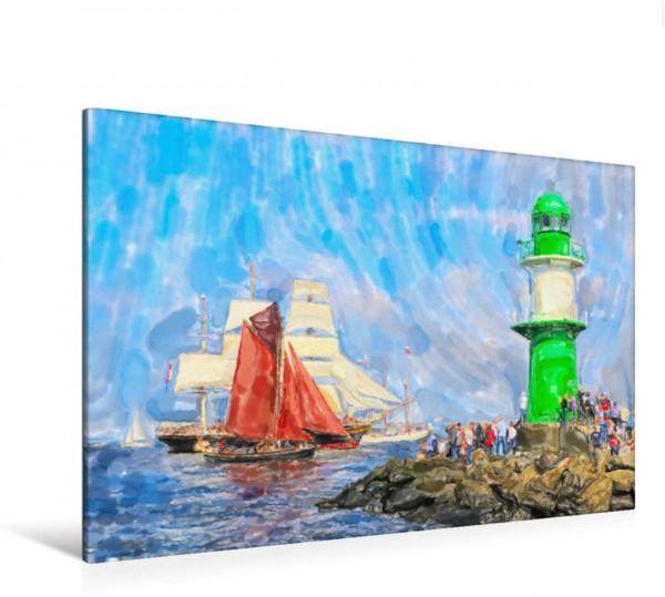Wandbild Molenfeuer Leuchtturm Warnemünde mit Segelbooten. Molenfeuer Leuchtturm Warnemünde mit Segelbooten. Molenfeuer Leuchtturm Warnemünde mit Segelbooten.