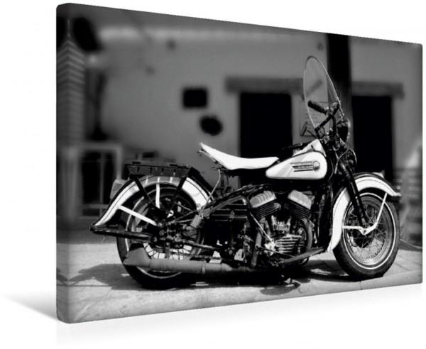 Wandbild Harley Davidson WLA 750 in Schwarzweiss