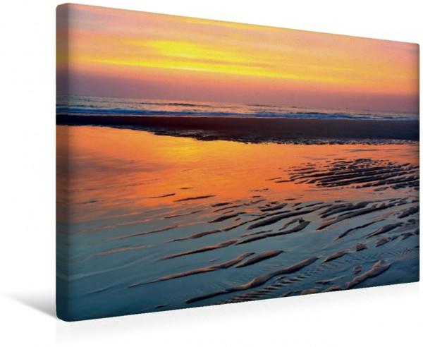 Wandbild Sonnenuntergang bei Ebbe