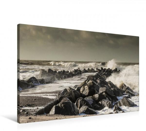 Wandbild Bovbjerg Høfde – Die Buhnen am Strand dienen dem Schutz der Küste vor der Kraft der Nordsee