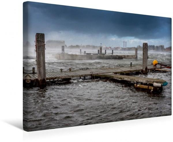 Wandbild Großer Hafen bei stürmischem Wetter
