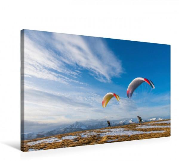 Wandbild Gleitschirmstart bei Sonnenaufgang Gleitschirme bei herbstlicher Morgenstimmung mit Schnee am Asjoch in Lüsen Gleitschirme bei herbstlicher Morgenstimmung mit Schnee am Asjoch in Lüsen