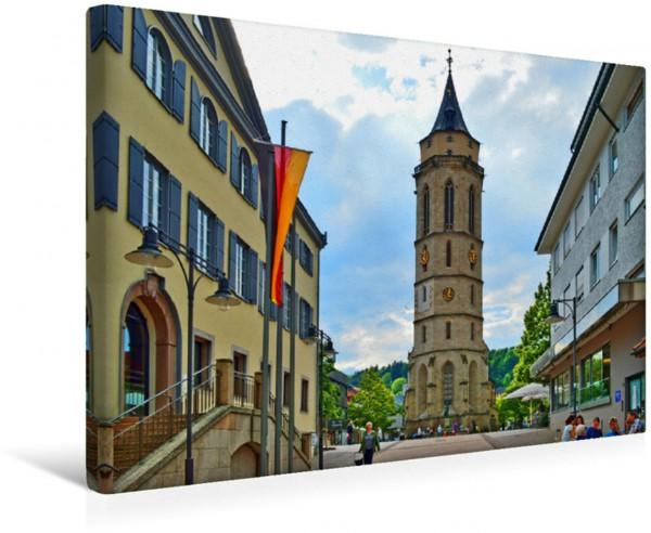 Wandbild Stadtkirche, links flankiert vom Rathaus