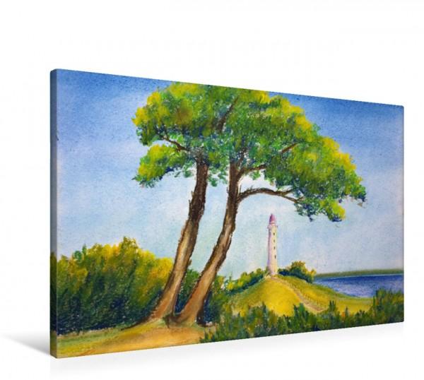 Wandbild Leuchtturm Hiddensee gemalt mit Pastellkreide Gemalte Leuchttürme - Mit Pinsel und Farbe entlang der deutschen Küste Gemalte Leuchttürme - Mit Pinsel und Farbe entlang der deutschen Küste