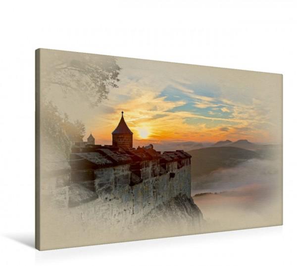 Wandbild Blick von der Festung Königstein ins Elbtal