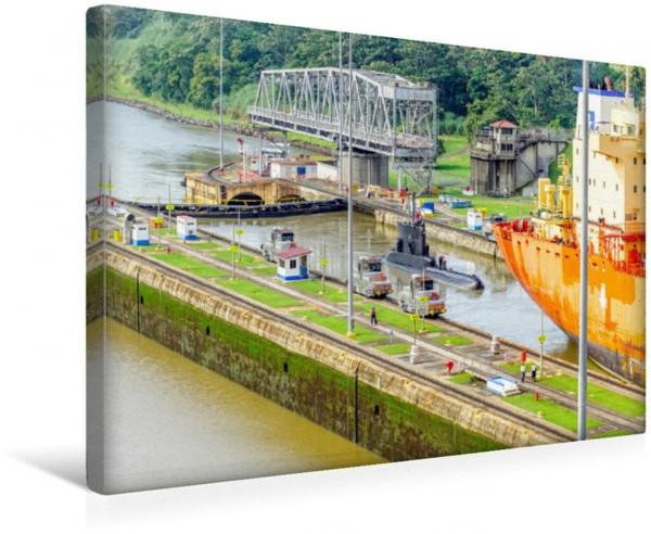 Wandbild Miraflores Schleuse mit Drehbrücke Panama City Panama City