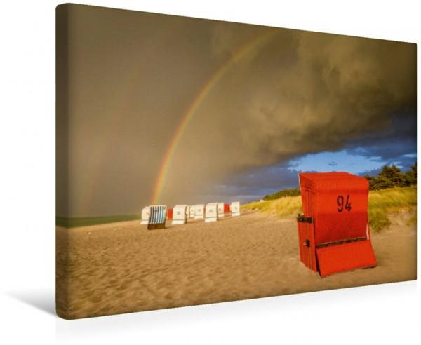 Wandbild Das Ende des Regenbogens liegt am Strand