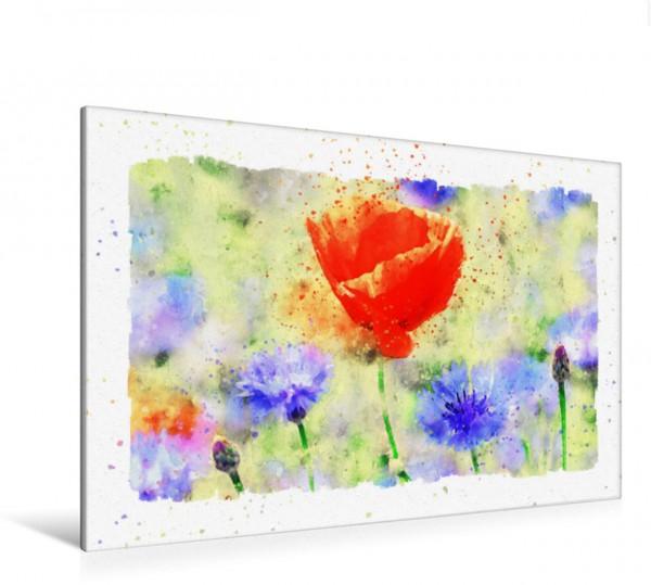 Wandbild Aquarellbild einer Mohnblume und Kornblumen. Aquarellbild einer Mohnblume und Kornblumen. Aquarellbild einer Mohnblume und Kornblumen.