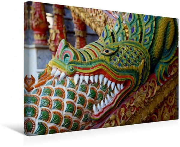 Wandbild Thailand, Drache vor dem Tempel Drache als Tempelfigur vor einem Tempel in Chiang Mai Thailand Drache als Tempelfigur vor einem Tempel in Chiang Mai Thailand