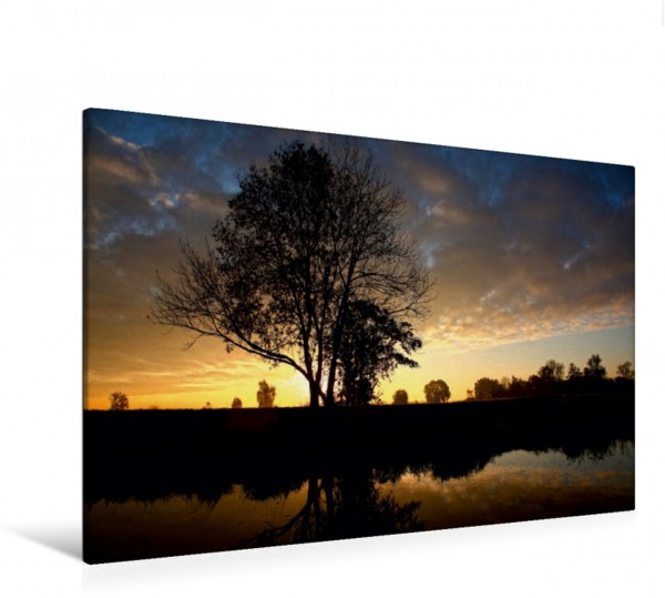 Wandbild Sonnenuntergang an der der Schmutter, Bayern, Deutschland Sonnenuntergang an der der Schmutter Bayern Deutschland Sonnenuntergang an der der Schmutter Bayern Deutschland