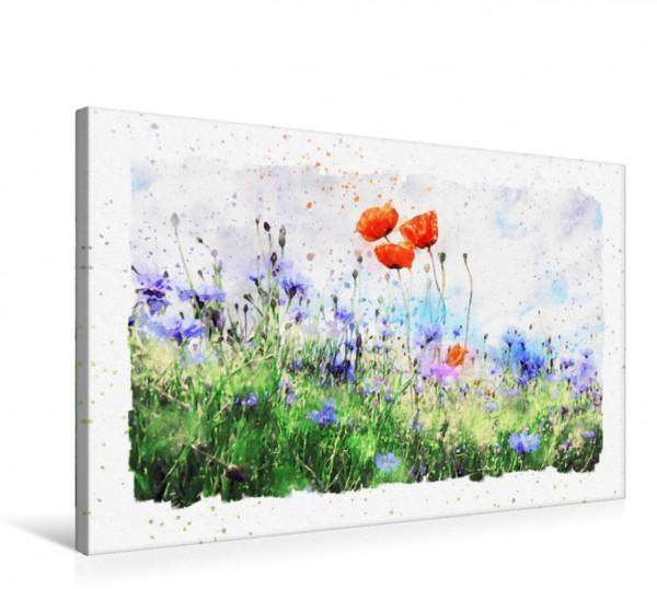 Wandbild Mohnblumen und Kornblumen auf einem Feld. Aquarell. Mohnblumen und Kornblumen auf einem Feld. Aquarell. Mohnblumen und Kornblumen auf einem Feld. Aquarell.