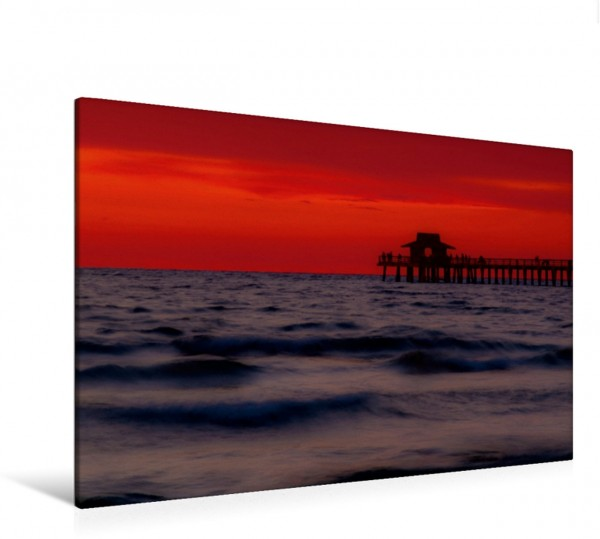 Wandbild FLORIDA Naples Pier Roter Sonnenuntergang Roter Sonnenuntergang