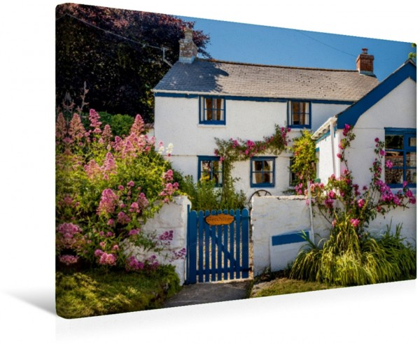 Wandbild Idyllisches Cottage in Landewednack am Lizard Point in Cornwall, Südengland