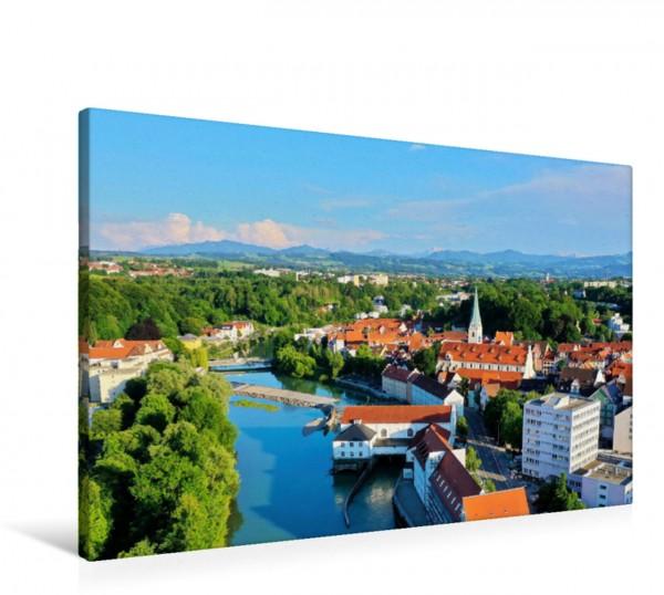 Wandbild Luftbild von Kempten an der Iller. Von hier aus hat man einen sagenhafte Fernsicht bis zu den Alpen. Von hier aus hat man einen sagenhafte Fernsicht bis zu den Alpen.
