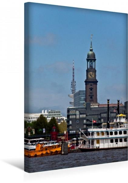 Wandbild Michel von der Elbe aus fotografiert St. Michaelis Hamburg St. Michaelis Hamburg