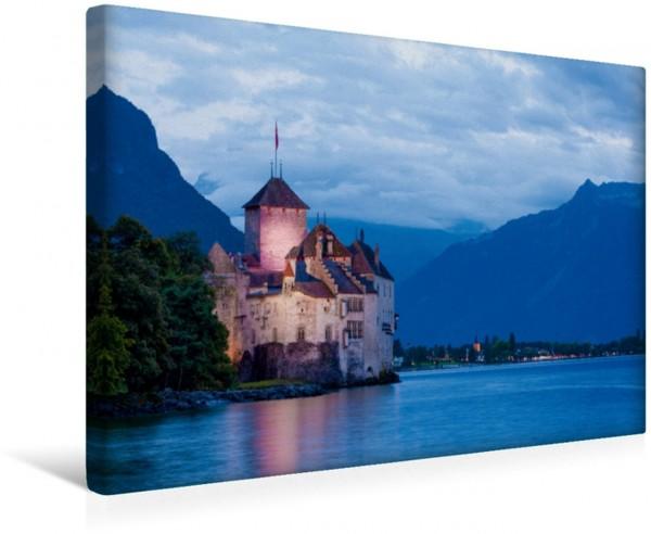 Wandbild Wasserburg Chateau de Chillon bei Veytaux