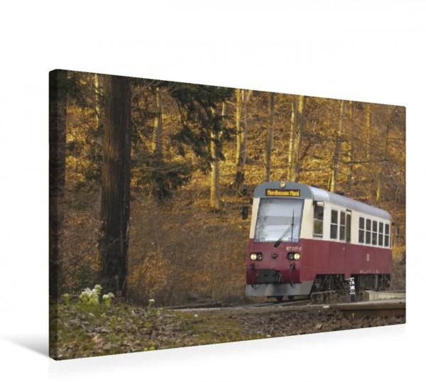 Wandbild Moderner Harzer Schienenbus Triebwagen 187 017 vor Einfahrt in den Bahnhof Steinerne Renne Triebwagen 187 017 vor Einfahrt in den Bahnhof Steinerne Renne