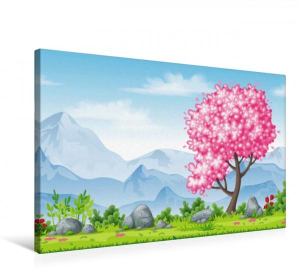 Wandbild Rosa blühender Baum im Frühling Frühingslandschaft mit blühendem Baum und Bergen im Hintergrund hangezeichnete Illustration Frühingslandschaft mit blühendem Baum und Bergen im Hintergrund han