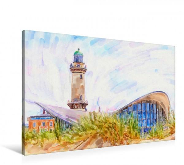 Wandbild Aquarell Leuchtturm und Teepott in Warnemünde Aquarell Leuchtturm und Teepott in Warnemünde mit Dünen. Aquarell Leuchtturm und Teepott in Warnemünde mit Dünen.