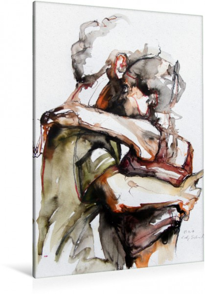 Wandbild Tangopaar N°18, Zeichnung in Mischtechnik Tangokunst von Evelyn Schmidt Tangokunst von Evelyn Schmidt