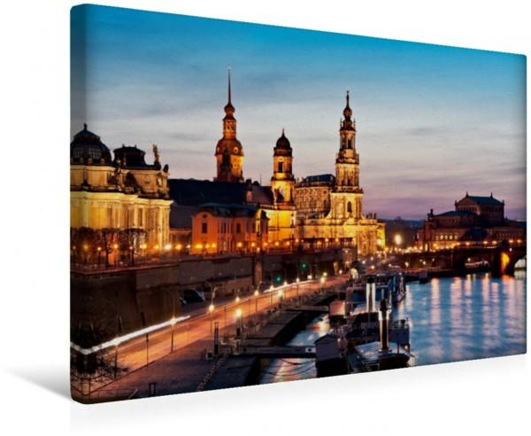 Wandbild Dresden Brühlsche Terrasse und Raddampfer Leinwandbild