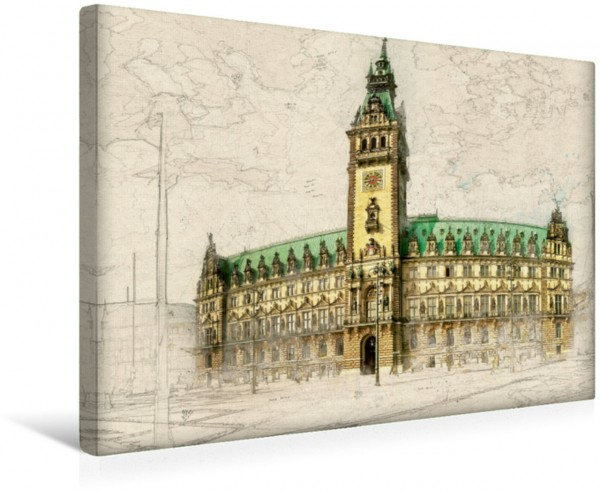 Wandbild Rathaus Hamburg