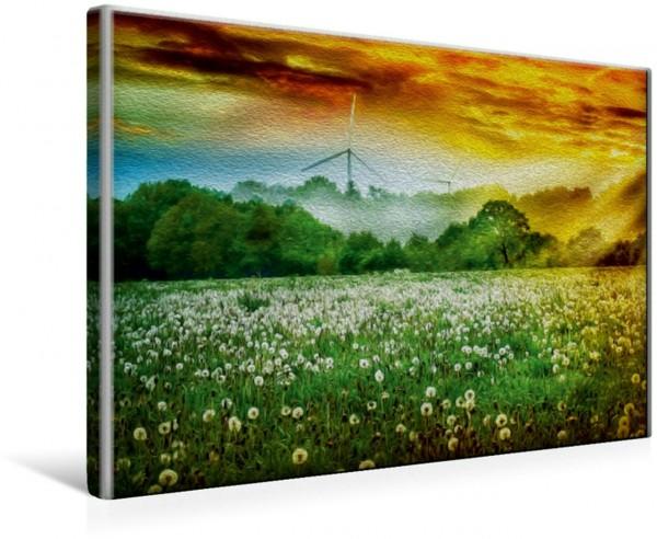 Wandbild Pusteblumen und Windräder Malerisch - Ostfriesland Land am Meer von Peter Roder Malerisch - Ostfriesland Land am Meer von Peter Roder