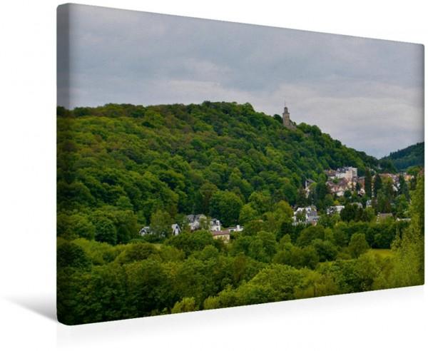 Wandbild Ein Blick ins Woogtal, auf die Taunushügel und die Burg Königstein