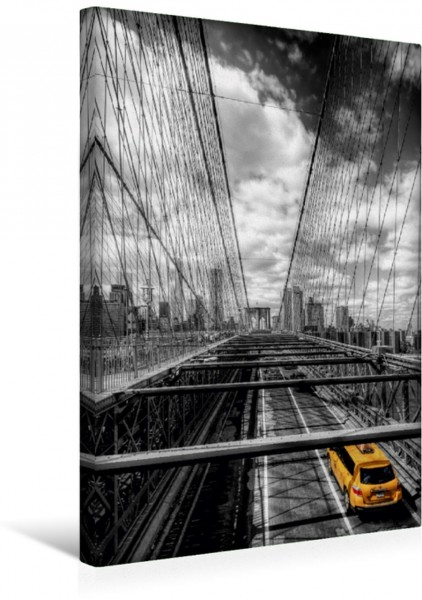 Wandbild New York - Brooklyn Bridge Brooklyn Bridge in colorkey mit Taxi Brooklyn Bridge in colorkey mit Taxi