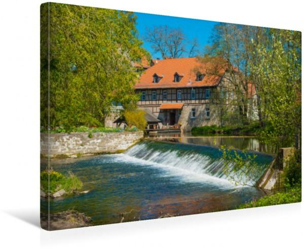Wandbild Wassermühle und Wehr an der Ilm, älteste Mühle in Thüringen, Taubach bei Weimar