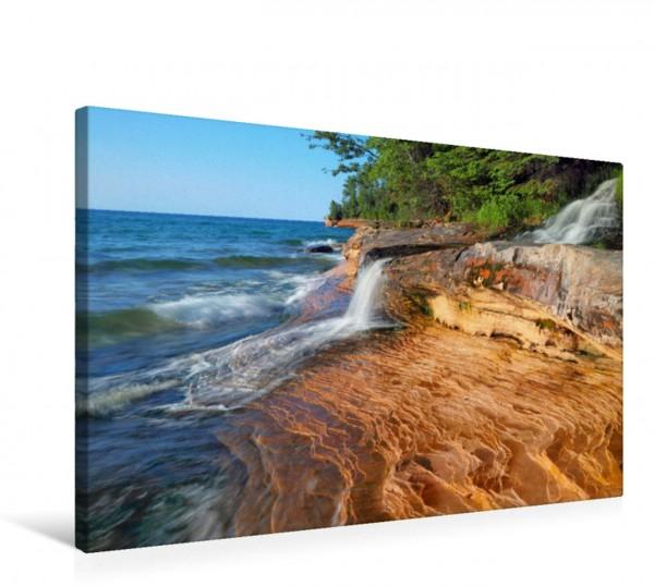Wandbild Wasserfall am Miners Beach, Pictured Rocks National Seashore, Lake Michigan, Michigan