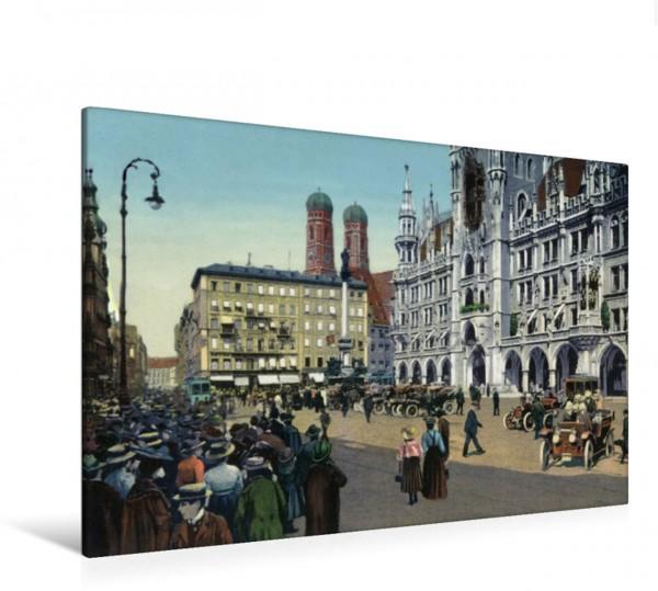 Wandbild Marienplatz während des Glockenspiels