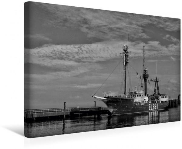 Wandbild Antikes Feuerwehrschiff Cuxhaven in schwarz und weiß Cuxhaven in schwarz und weiß