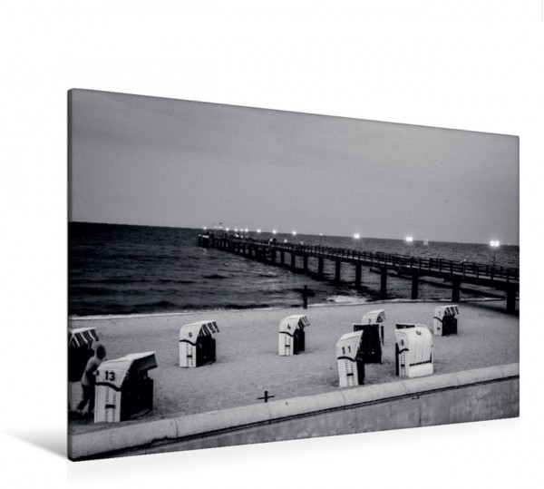 Wandbild Strand an der Seebrücke