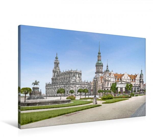 Wandbild Dresden - Theaterplatz und Schloss 1905