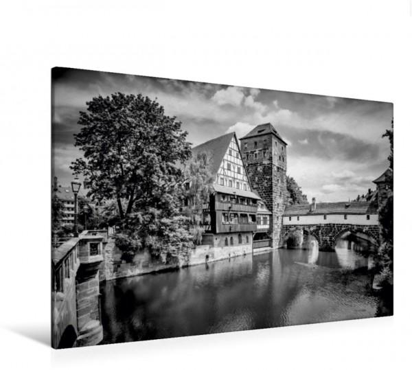 Wandbild NÜRNBERG Blick von der Maxbrücke zum Henkersteg Monochrom Mittelalterliche Altstadt Mittelalterliche Altstadt