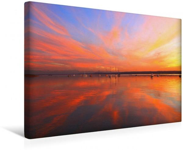 Wandbild Abendstimmung, Ammersee Boote im Abendlicht Boote im Abendlicht