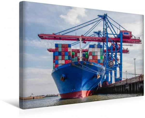 Wandbild Container-Riese am Terminal Beladung eines Containerschiffes im Hamburger Hafen Beladung eines Containerschiffes im Hamburger Hafen