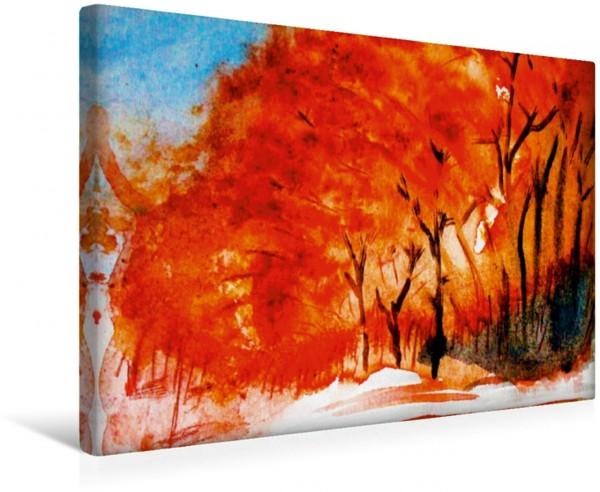 Wandbild Herbstwald aquarell aquarell
