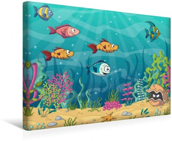 Wandbild Lustige Fische in einer Unterwasserlandschaft Illustration von lustigen Cartoon Fischen und Pflanzen handgezeichnet Illustration von lustigen Cartoon Fischen und Pflanzen handgezeichnet
