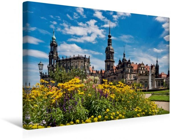 Wandbild Dresden Katholische Hofkirche Schloss und Hausmannsturm