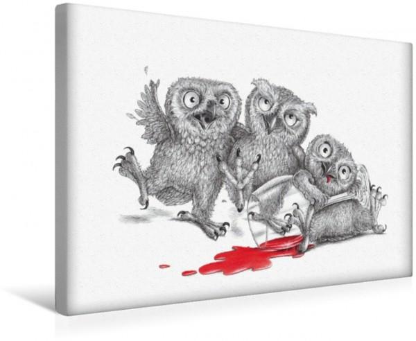 Wandbild Drei beschwipste Eulen Partyeulen Partyeulen