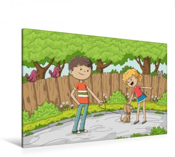 Wandbild Der neue Hund Ein Junge zeigt einem Mädchen seinen neuen Hund Ein Junge zeigt einem Mädchen seinen neuen Hund