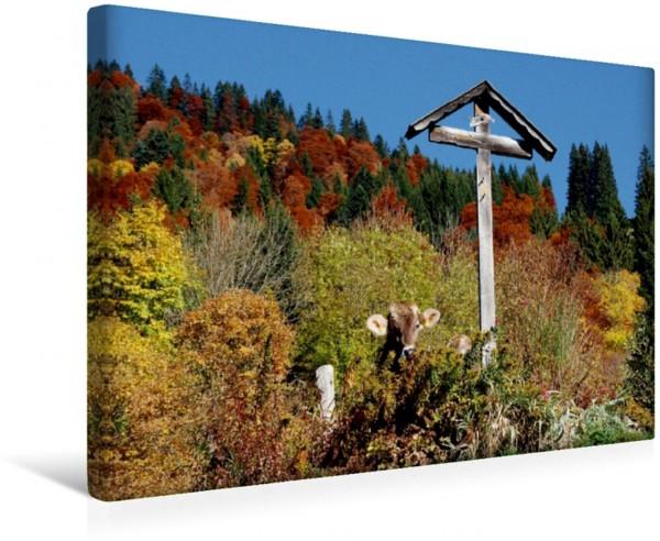 Wandbild LANDLEBEN Kuh am Wegkreuz im Herbst Kuh am Wegkreuz im Herbst